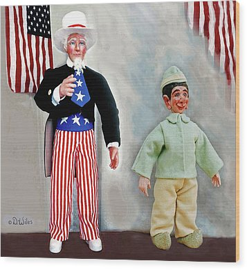 Lefty And Sam Wood Print by David Wiles