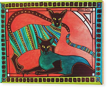 Legend Of The Siamese - Cat Art By Dora Hathazi Mendes Wood Print