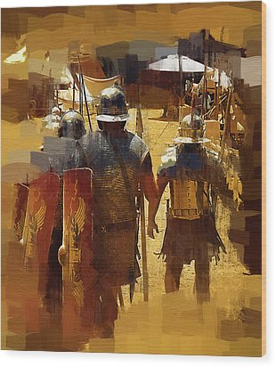 Legionnaires Marching To Camp Wood Print by Clarence Alford