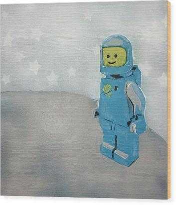 Lego Man On The Moon Wood Print by Wall Kandi
