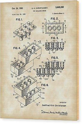 Lego Patent 1958 - Vintage Wood Print