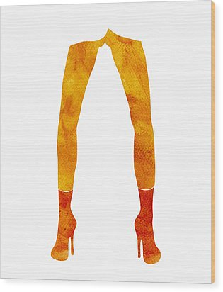 Legs Of A Fashion Model Wood Print by Frank Tschakert