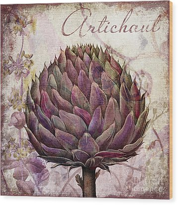 Legumes Francais Artichoke Wood Print by Mindy Sommers