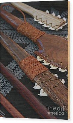 Lei O Mano Hawaiian Koa Shark Teeth Dagger And War Clubs Wood Print by Sharon Mau