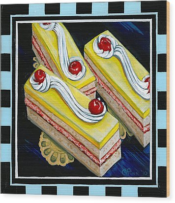 Lemon Bars With A Cherry On Top Wood Print by Gail Finn