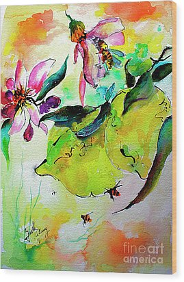 Wood Print featuring the painting Lemon Garden Blossoms And Bees by Ginette Callaway