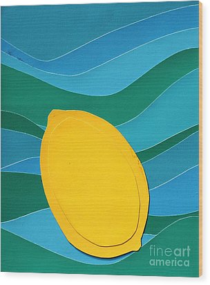 Wood Print featuring the mixed media Lemon Slice by Vonda Lawson-Rosa