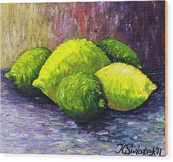 Lemons And Limes Wood Print by Kamil Swiatek
