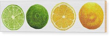 Lemons And Limes Wood Print by Kathleen Skinner