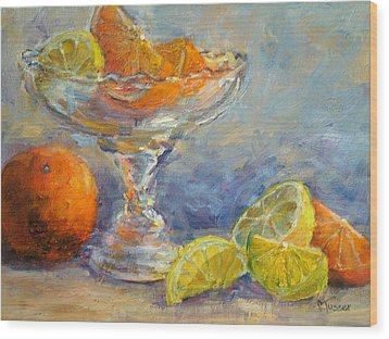 Lemons And Oranges Wood Print