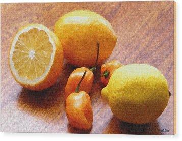 Lemons And Peppers Wood Print by Jeff Kolker