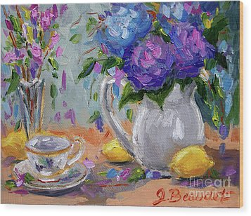 Wood Print featuring the painting Lemons And Purple  by Jennifer Beaudet