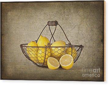 Lemons Wood Print by Heather Swan