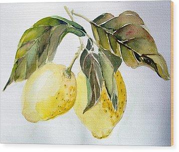 Lemons Wood Print by Mindy Newman