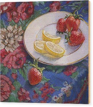 Lemons N Berries Wood Print by L Diane Johnson