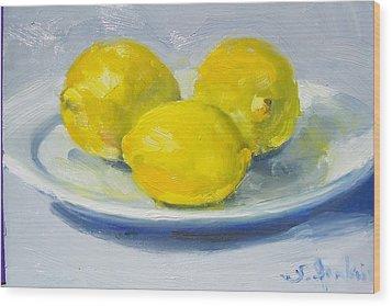 Lemons On A White Plate Wood Print by Susan Jenkins