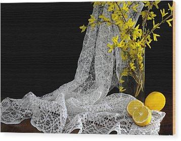 Lemons'n Lace Wood Print by Diana Angstadt