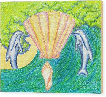 Wood Print featuring the drawing Lemuria Atlantis by Kim Sy Ok