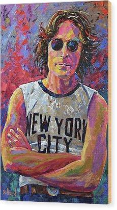 Lennon New York Wood Print by Debra Hurd