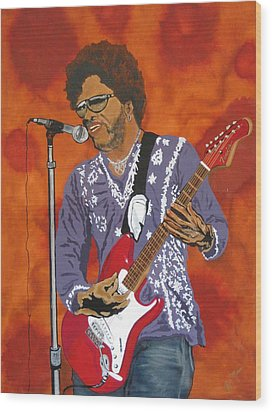 Lenny Kravitz-the Rebirth Of Rock Wood Print by Bill Manson