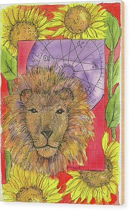 Wood Print featuring the painting Leo by Cathie Richardson
