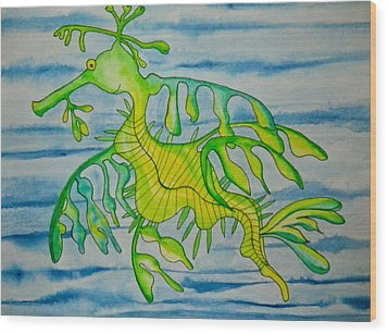 Leon The Leafy Dragonfish Wood Print by Erika Swartzkopf