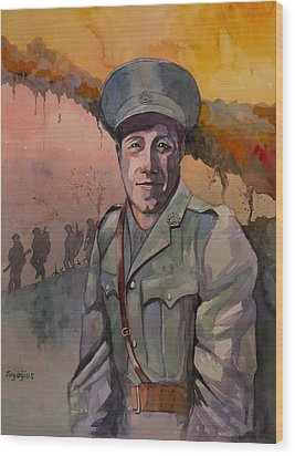 Wood Print featuring the painting Leonard Keysor Vc by Ray Agius