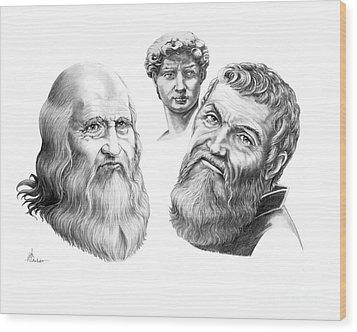 Leonardo And Michelangelo Wood Print by Murphy Elliott