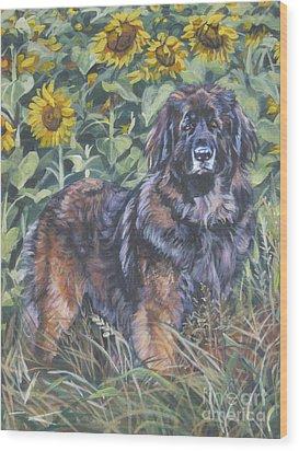 Leonberger In Sunflowers Wood Print by Lee Ann Shepard