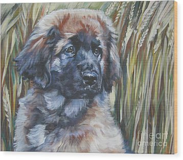 Leonberger Pup Wood Print by Lee Ann Shepard