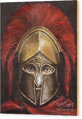 Wood Print featuring the painting Leonidas by Arturas Slapsys