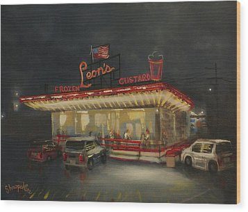 Leon's Frozen Custard Wood Print by Tom Shropshire