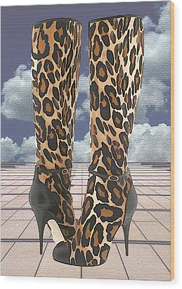 Leopard Boots With Ankle Straps Wood Print by Elaine Plesser