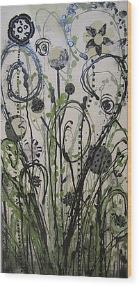 Wood Print featuring the painting Leopard Garden by Ashley Price