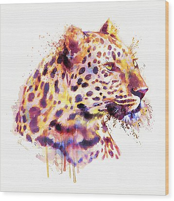 Leopard Head Wood Print by Marian Voicu