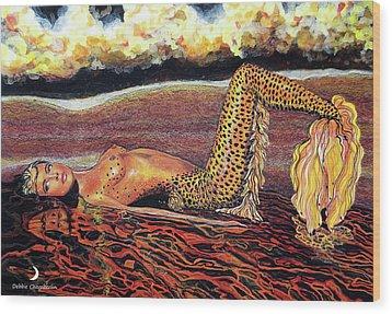 Leopard Mermaid Wood Print by Debbie Chamberlin