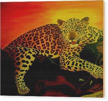 Leopard On A Tree Wood Print