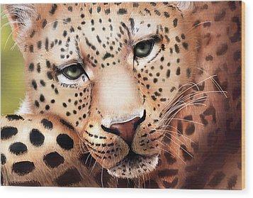 Leopard Resting Wood Print by Angela Murdock