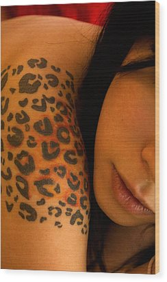 Leopard Tattoo Close Up Wood Print by DankLilli Art And Photography