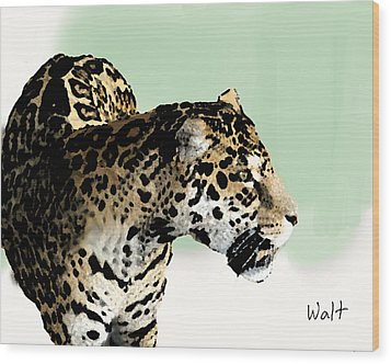 Wood Print featuring the digital art Leopard by Walter Chamberlain