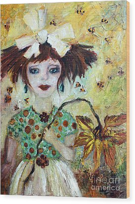 Wood Print featuring the painting Leora #1 by Ginette Callaway