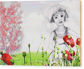 Wood Print featuring the drawing Leora In Her Garden by Ginette Callaway