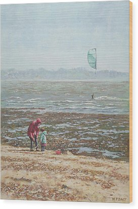Wood Print featuring the painting Lepe Beach Windy Winter Day by Martin Davey