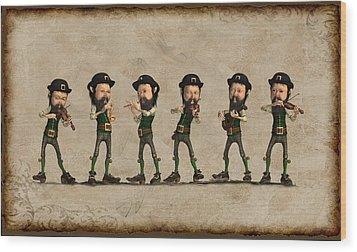 Leprechaun Musicians Wood Print by John Junek