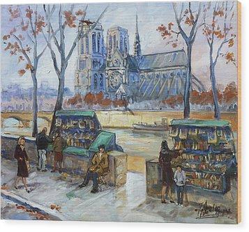 Les Bouquinistes, Seine, Paris Wood Print