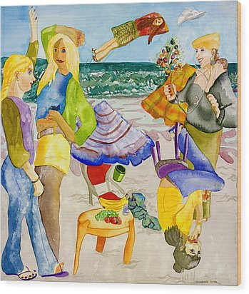 Les Demoiselles Of Santa Cruz V4 Wood Print by Susan Cafarelli Burke