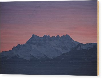 Les Dents Du Midi Wood Print by Colleen Williams