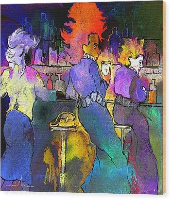 Les Filles Du Cafe De La Nuit Wood Print by Miki De Goodaboom