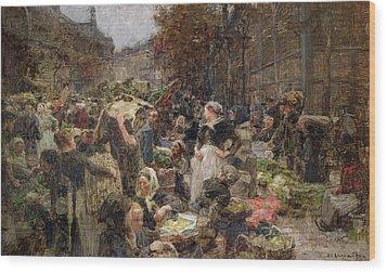 Les Halles Wood Print by Leon Augustin Lhermitte