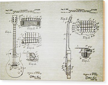 Les Paul Guitar Patent 1955 Wood Print by Bill Cannon